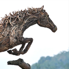 Jumping Stallion: Sculpture en bois flottant